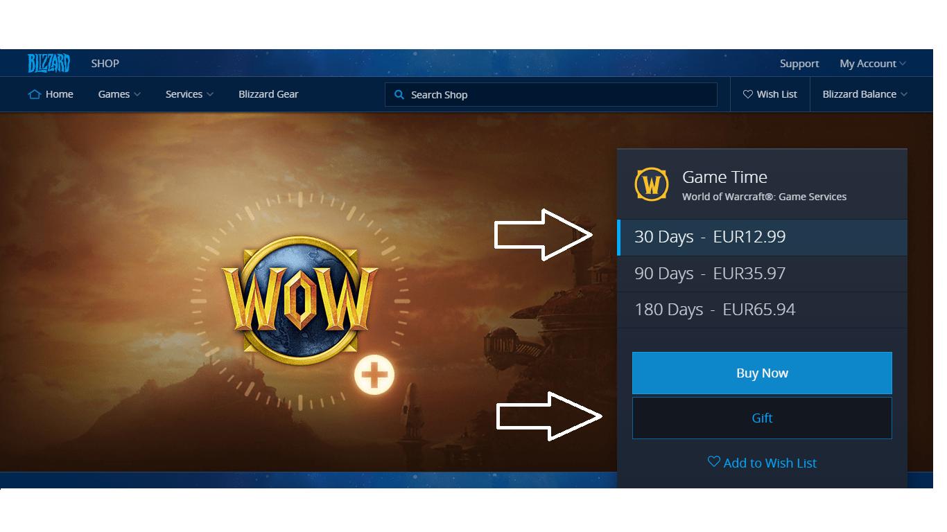 راهنمای بازی world of warcraft how to gift a game time wow 3 - آموزش ارسال گیم کارت به روش Gift